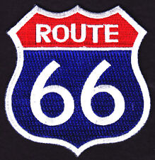 ROUTE 66 - USA - HIGHWAY - BIKER - ROAD SIGN - HISTORIC - EMBLEM - IRON ON PATCH