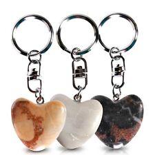 2 porte-clés en pierre en forme de coeur Galets des amoureux zen saint valentin