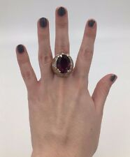 Panetta 14k gold plated stunning faux amethyst crystal cocktail ring sz 6.5