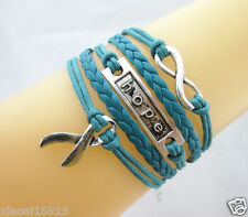 Hot Infinity/Hope/Cancer Ribbon Charms Leather Braided Bracelet Teal Blue