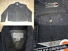 Women's Harley Davidson M Vintage Studded Jean Jacket Black Wash Out Look