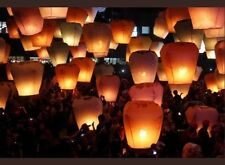 20x FLYING FIRE LANTERN CHINESE UFO BALLOON FLOATING WEDDING MING ORANGE UK SELL