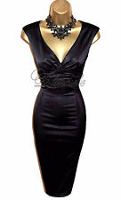 Stunning COAST Black Stretch SATIN Wiggle Cocktail DRESS UK 14 Weddings Races