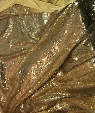 Antique Gold SEQUIN Spangle Sewn on Mesh Fabric 1/4 yard remnant