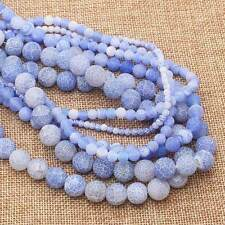 """4-14mm Frost Crackle Agate Round Loose Beads 15"""" 12Colors, more size"""