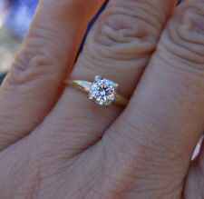 .36ct vintage diamond solitaire antique engagment ring 14k YG