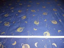 METALLIC MOON AND SATURN ON BLUE FABRIC  -   3+ YARDS IN STOCK - BY THE YARD
