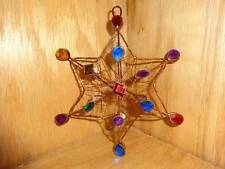 "Vintage 3D Copper Wire Color Faux Jeweled 6"" Star Christmas Tree Ornament"