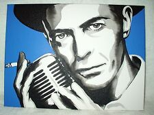 Canvas Painting David Bowie 1980s Hat & Microphone B&W 16x12 inch Acrylic