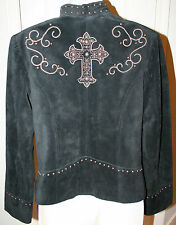 Scully Women's Black Suede Leather Jacket Studded Embroidery Cross Small Western