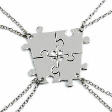 4pcs Friendship Best Friends Puzzle Piece Necklace Set Connecting Sisters BFF