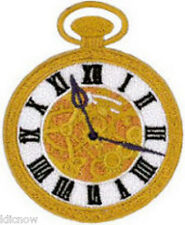 "TICK TOCK (POCKET WATCH) EMBROIDERED PATCH 7cm x 5.5cm (2 3/4"" x 2 1/4)"