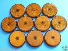 FREE P+P* 10 x AMBER Screw on 60mm Round Reflectors - Trailers & Horse Box