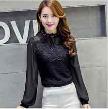 Elegant Classy Chiffon Lace Top Blouse Vintage Crystal Sheer Classic High Neck