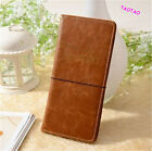 Long Leather Travel Passport Cover Credit ID Card Cash Holder Wallet Case Brown