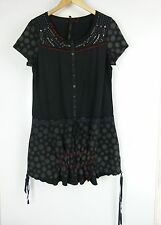 CAP.CAPONE Tunic top/blouse Sz 4 Black grey red print