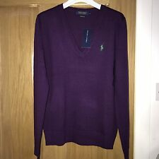 BNWT Ralph Lauren Polo Ladies Merino Wool V Neck Jumper Size L RRP £125