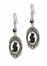 Black Cat Cameo In Silver Finish Frame Dangle Earrings with Black Bead #1047