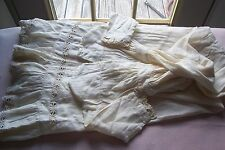 Vtg Antique Victorian Baby Gown Woven Cotton Fabric  Crochet Turtle Braid CUTTER