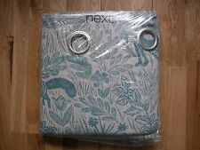 """NEXT CURTAINS FOLKLORIC ANIMAL PRINT TEAL NATURAL EYELET LINED DEER STAG 66x90"""""""