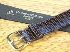Genuine Vintage Baume & Mercier Swiss Watch Strap Band Brown Lizard Leather 17mm