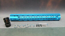 "15"" Inch Ultra Light Slim Anodized BLUE KEYMOD Free Float Hand Guard Fore Rail"