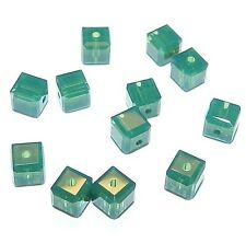 SCC175f PALACE GREEN OPAL Faceted Square Cube 4mm Swarovski Crystal Beads 12/pkg