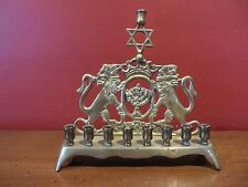 "Vintage Hanukkah Israel Menorah Brass/Bronze Judaica Lions of Judah 7"" Tall Gift"