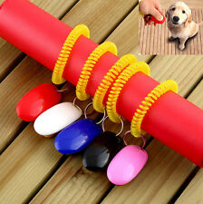 Pet Dog Cat Bird Clicker Training Click Obedience Aid Wrist Strap act