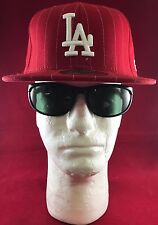 New Era 59Fifty MLB LA Dodgers Red With White Pin Stripes/white LA Logo Flat Hat