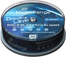 25 MediaRange DVD+R DL 8,5Gb 240Min 8x Double Layer Rohlinge Spindel MR469