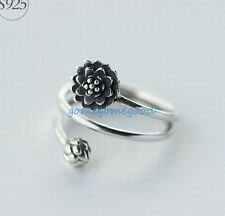 925 Sterling Silver - Size 7 Retro Multilayer Lotus Flower Bud Women Party Ring