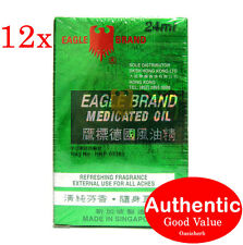 12X Eagle Brand Medicated Oil - Made in Singapore - 24ml for Aches & Pain (New!)