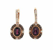 LeVian 14k Rose Gold White Sapphire Quartz Rhodolite Earrings Retail $1886