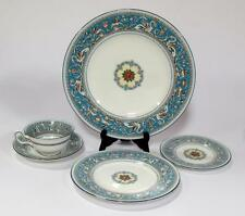 1 place setting Wedgwood Blue Turquoise Florentine 5 pcs Dinner Salad Bread Cup