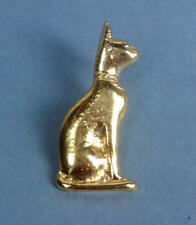 Egyptian 22kt GP Seated Bastet Cat Pin Brooch