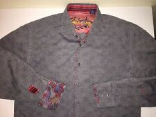 Robert Graham Embroidered Button-Front Shirt, Men's Large, Gray