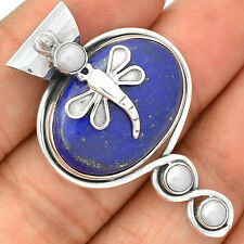 Dragonfly -  Lapis & Pearl 925 Sterling Silver Pendant Jewelry SP220579