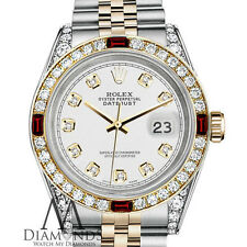 Womens Rolex Stainless Steel & Gold 31mm Datejust Watch White Dial Ruby Diamond