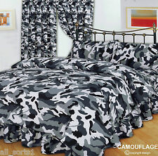 KING SIZE DUVET COVER SET CAMOUFLAGE BLACK GREY WHITE ARMY MILITARY URBAN