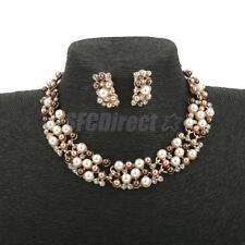 Vintage Women Faux Pearl Rhinestone Statement Earring Necklace Jewelry Set