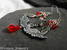 Ethnic style ANGEL WING PENDANT & EARRINGS SET red glass beads goth last one