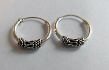 Pair Of Sterling Silver 925  Indo  Bali Hoop Earrings 16 mm !!       New  !!