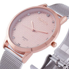 Luxury Rose Gold Dial Fashion Mesh Band Lady Women Quartz Watch Bracelet Relojes