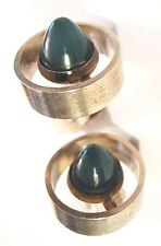 N E FROM Sterling Green Chalcedony Bullet Cufflinks ~Denmark ~Vtg Atomic Rocket