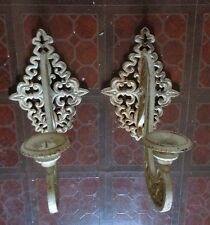 2 Vintage Distress French Shabby Chic Wrought Iron Metal Candle Holder LARGE