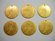 Raw Brass Spiral Embossed Drops Earring Findings Discs - 6