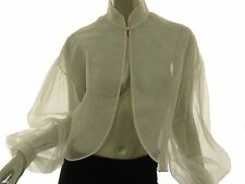 JACK FULLER Ivory Sheer Silk Poet Blouse Gathered Sleeve Womens Size 10 New NWT