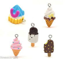 30 Mixed Resin Ice Cream Charms Pendants