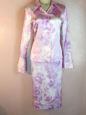 Tahari 2-Pc Dress/Skirt Blouse Outfit~Pink-Purple White Stretch Silk Roses~8-M